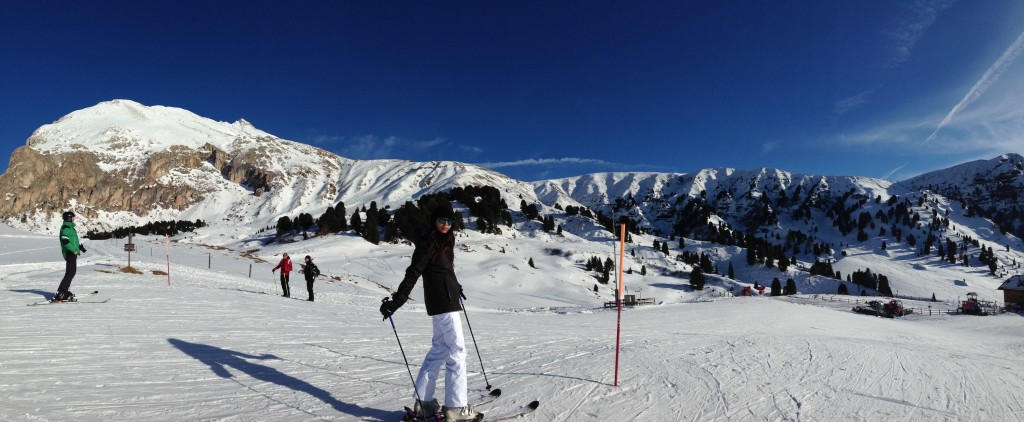 View of the Dolomites from the ski slopes