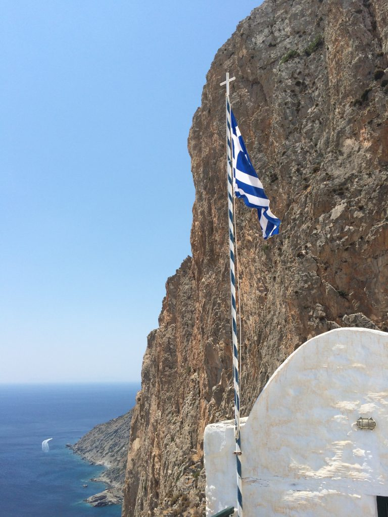 Greek Flag amorgos monanstery