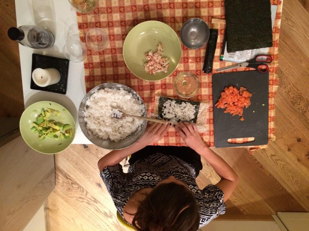 Making home made sushi