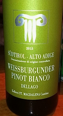 """Kellerei St. Magdalena Südtirol Alto Adige Dellago Weissburgunder Pinot Bianco 2013 """"In sudtirol they will tell you that it is too dry, that is what convinced me to buy it. It is fruity but not sweet. Perfect for aperitivo with speck."""""""