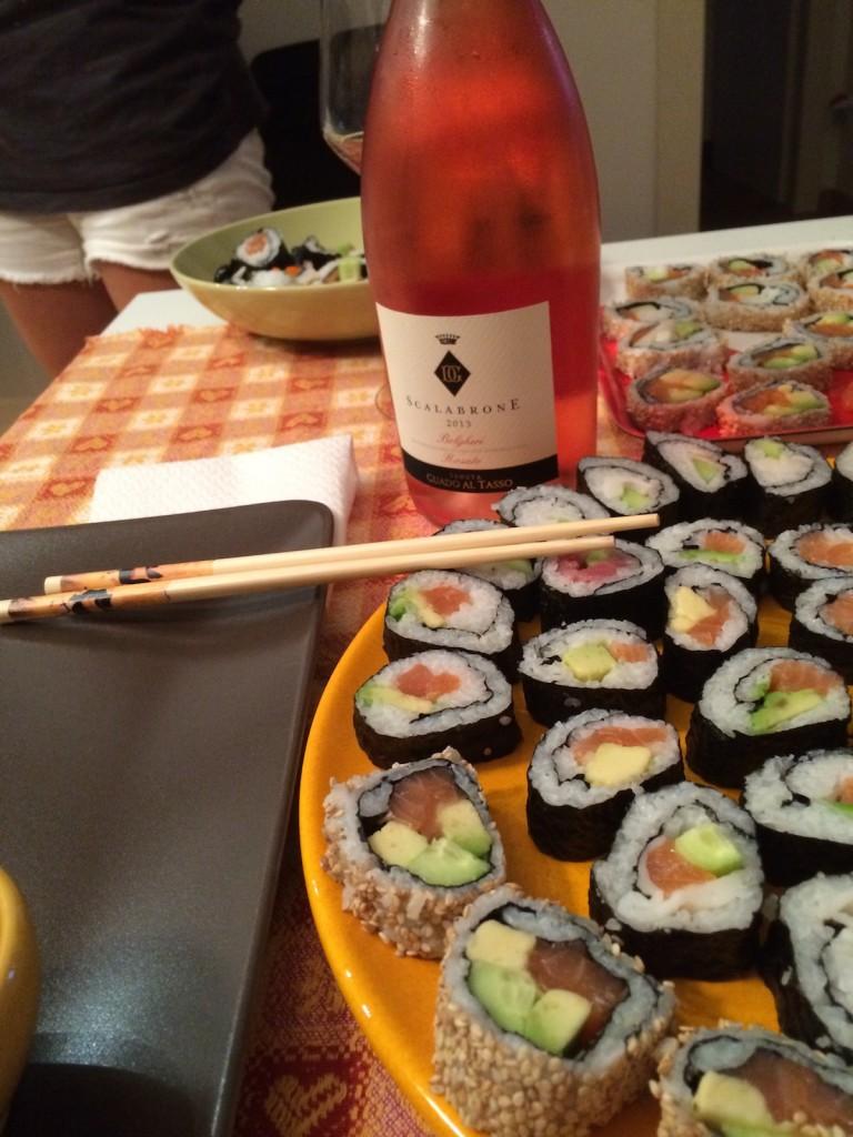 Sushi and rose wine
