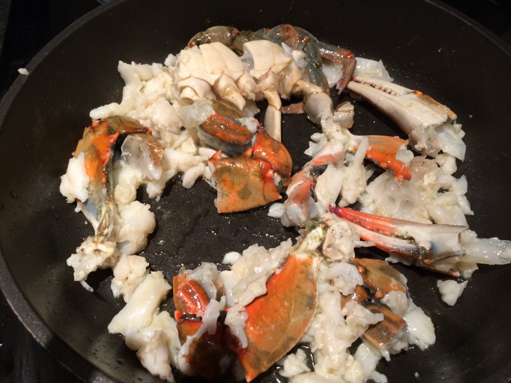 Crab clean with meat and shell