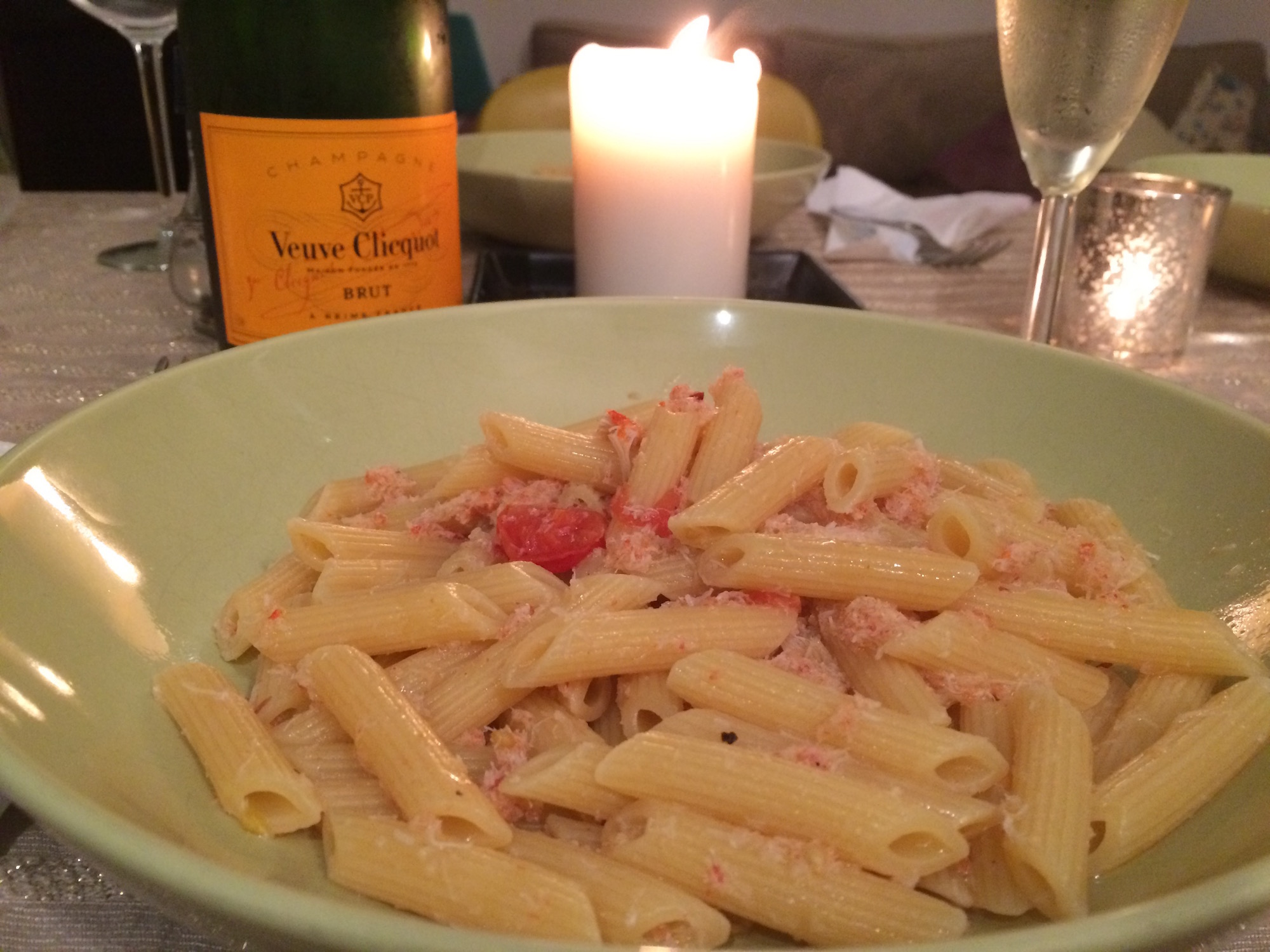 Penne with crab sauce and Champagne Veuve Clicquot