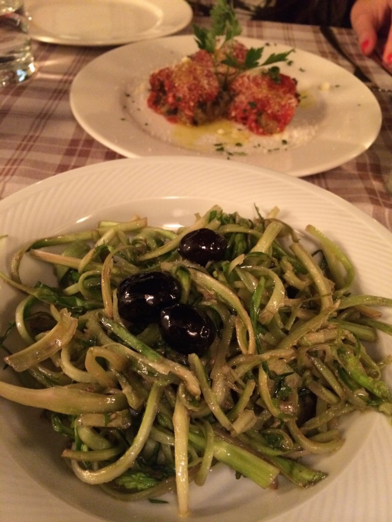 Puntarelle alla romana with anchovy and Polpette romane