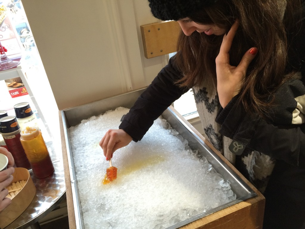 A frozen maple syrup lolly in Quebec City, perfect pair with Canadian icewine