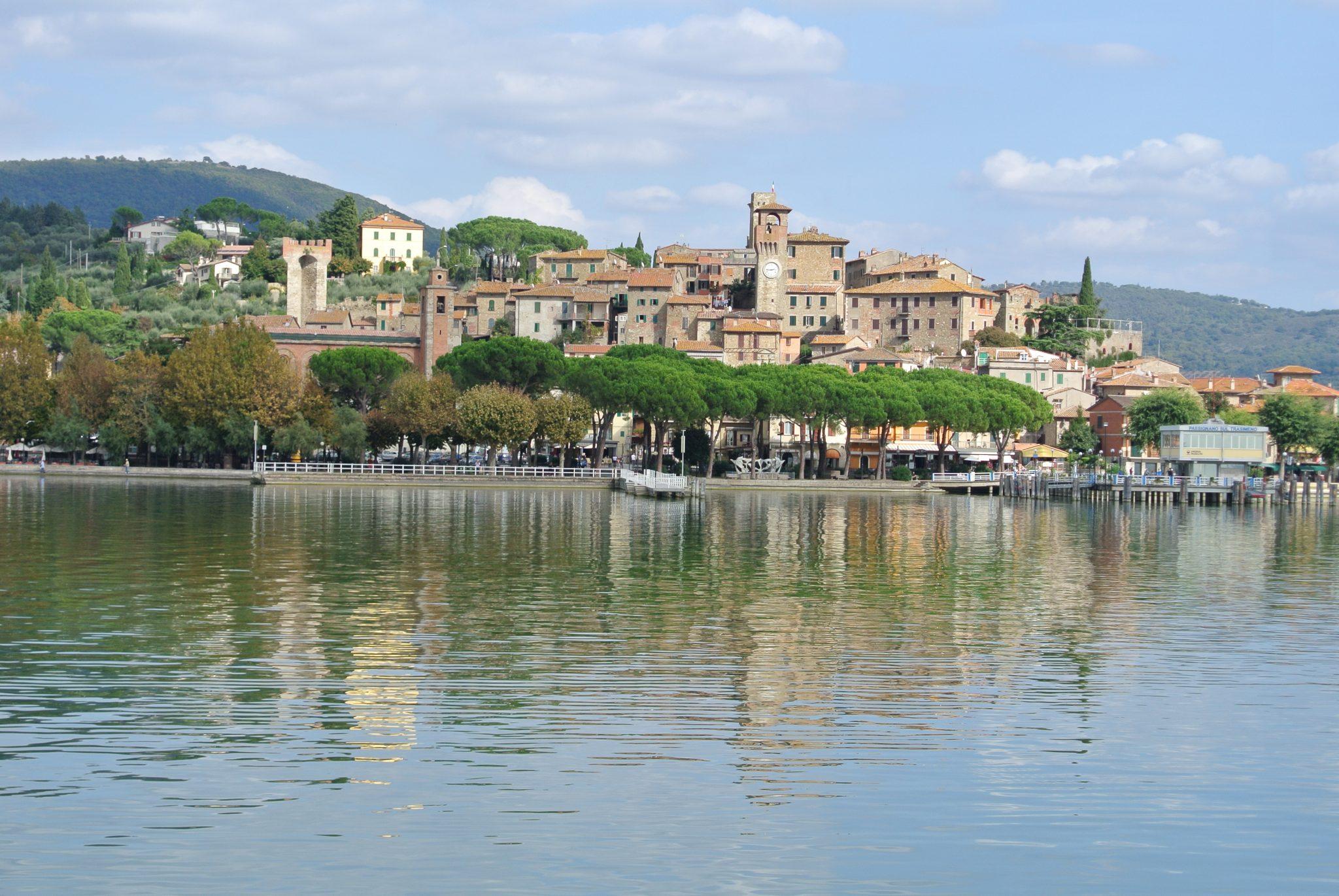 View of Passignano and Lake Trasimeno