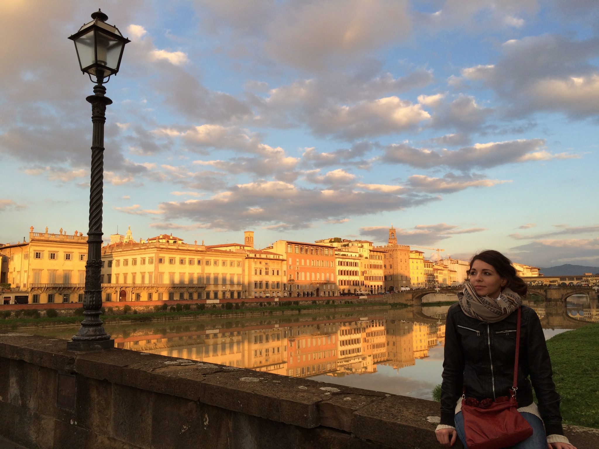 The sunset in November in Florence, from Ponte alla Carraia