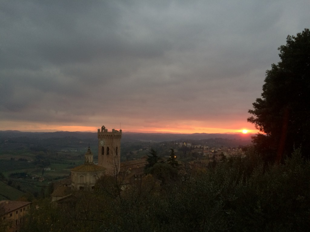 Sunset in san miniato next to the Frederick II tower