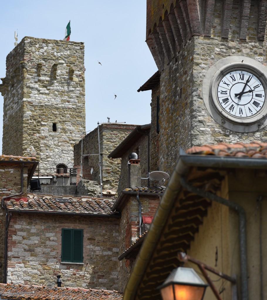 View on the towers of Passignano on Lake Trasimeno Umbria