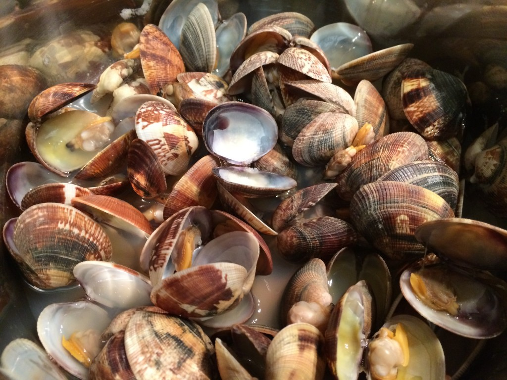 Vongole open in the pot