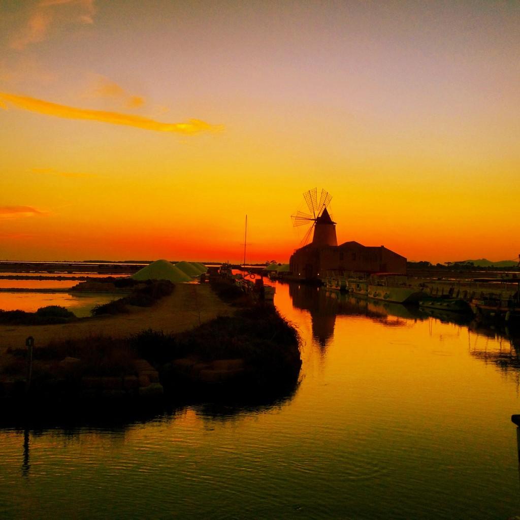 Sicilian saline at sunset