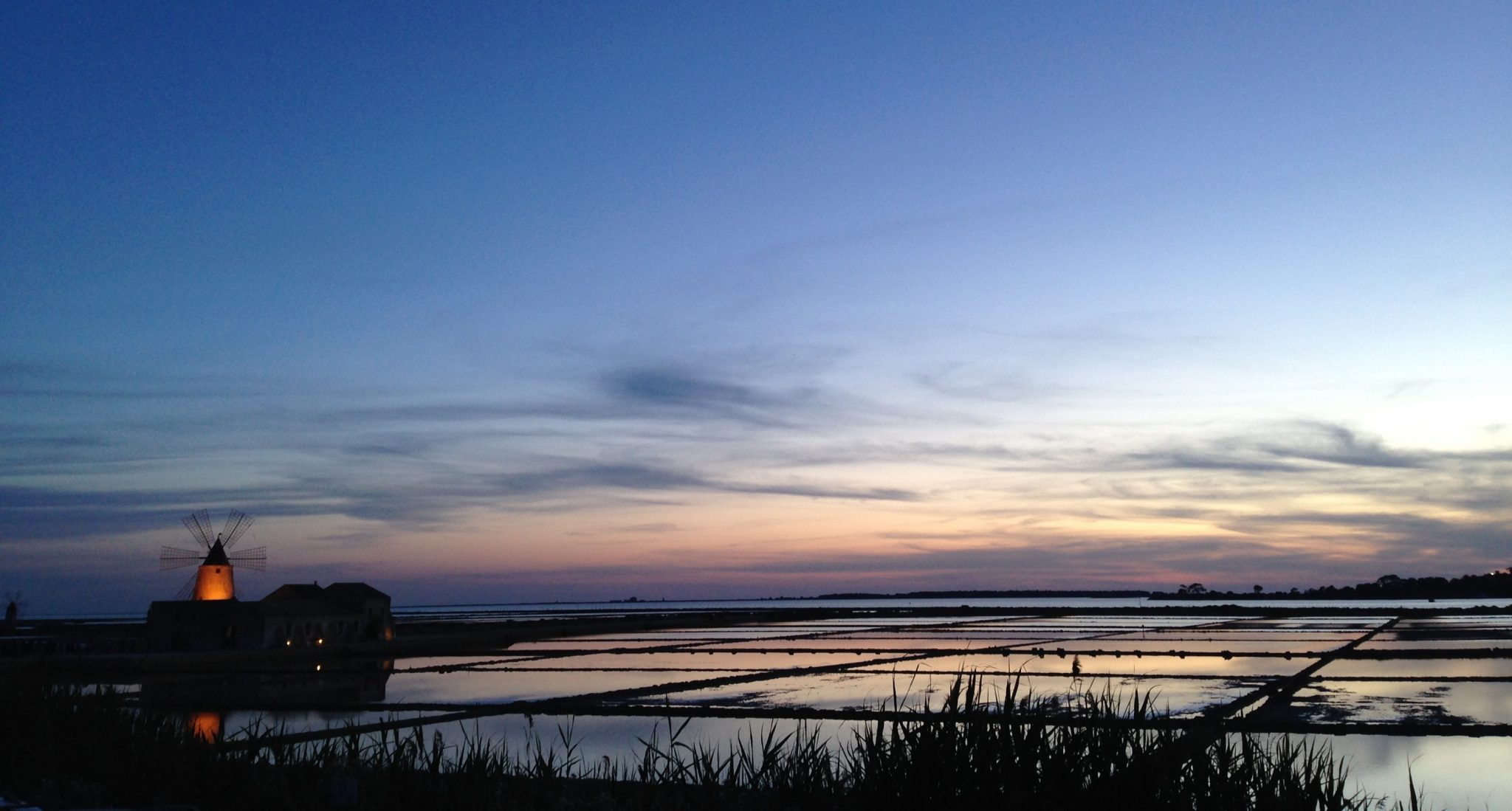 Saline at dusk