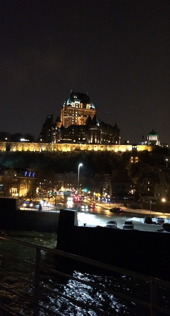 View on Chateau Frontenac from Ferry st lawrence river