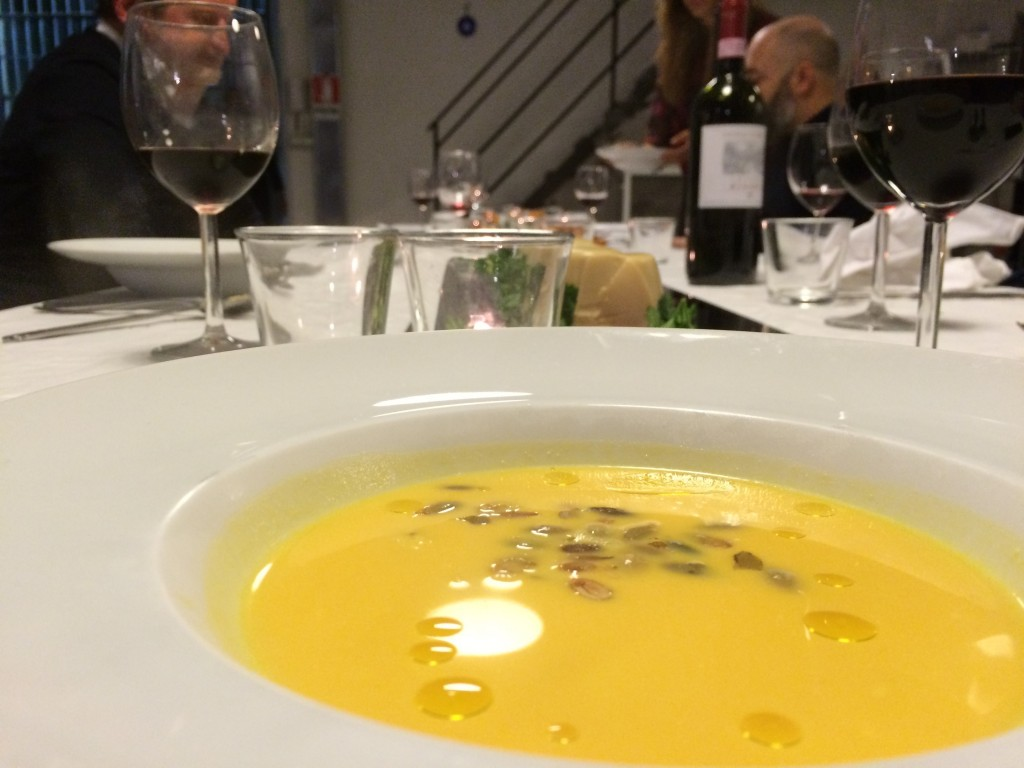 Butternut squash soup with fresh ginger and caramelized carrots