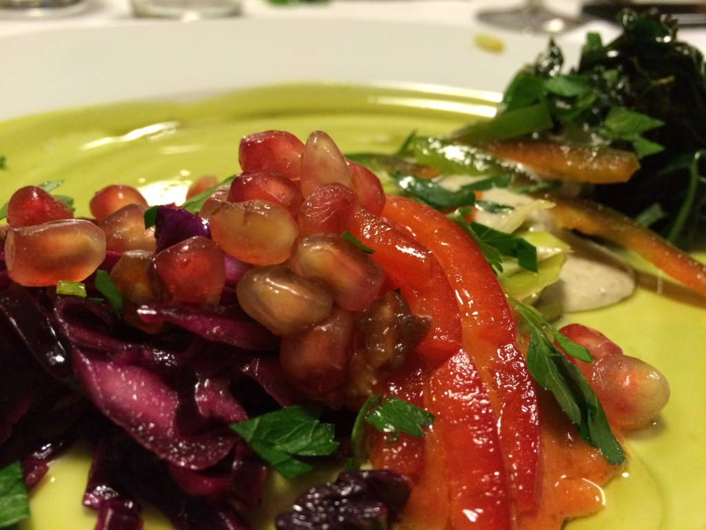 pickled red and green cabbage, heirloom carrots and winter greens served with umeboshi apricot vinaigrette