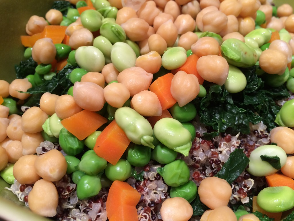 Quinoa salad with chick and green peas carrots fava beans and black kale from Tuscany
