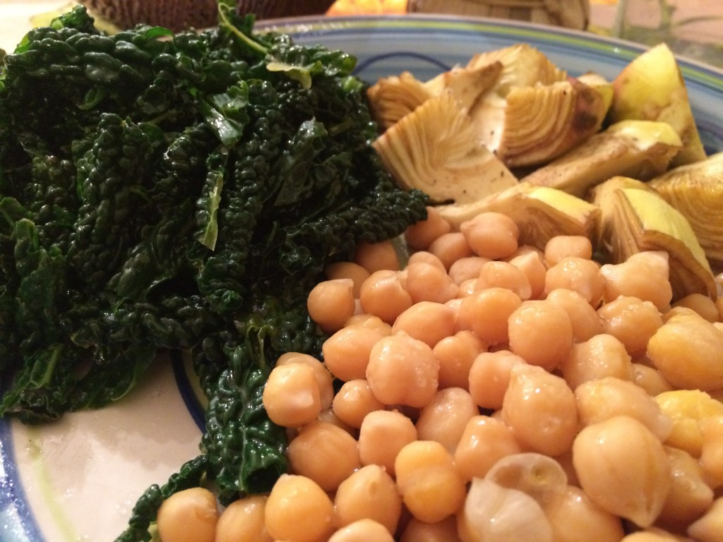 chick peas artichokes and black kale