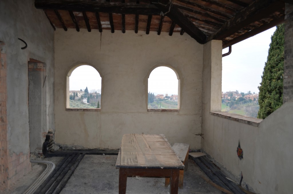 Tuscan view from under construction building