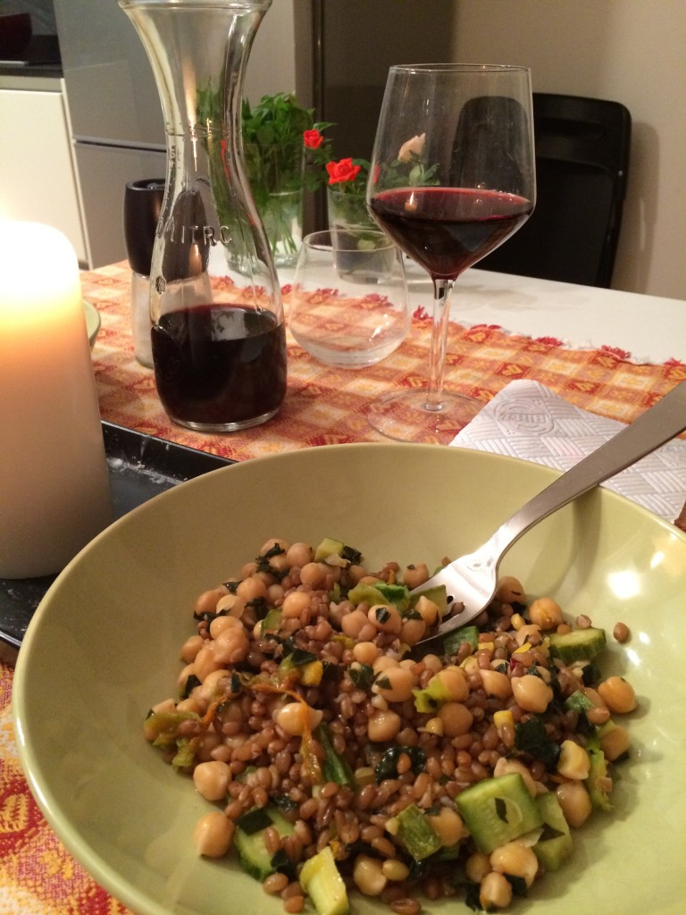 wheat salad and organic wine