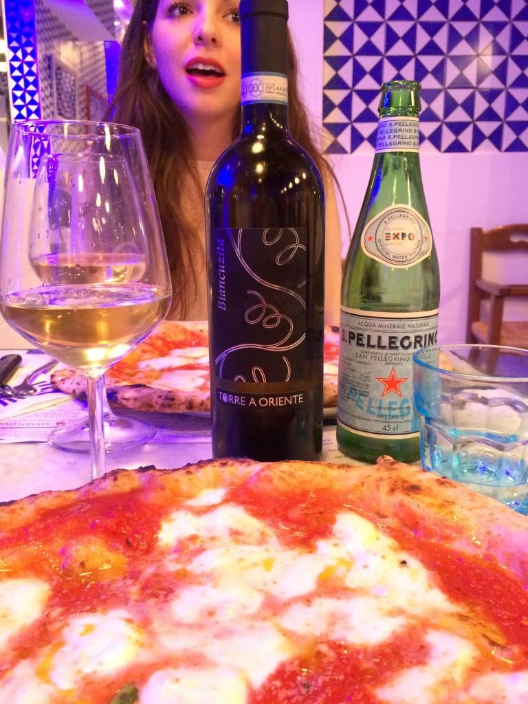 Napoli Pizza and white wine at Sorbillo