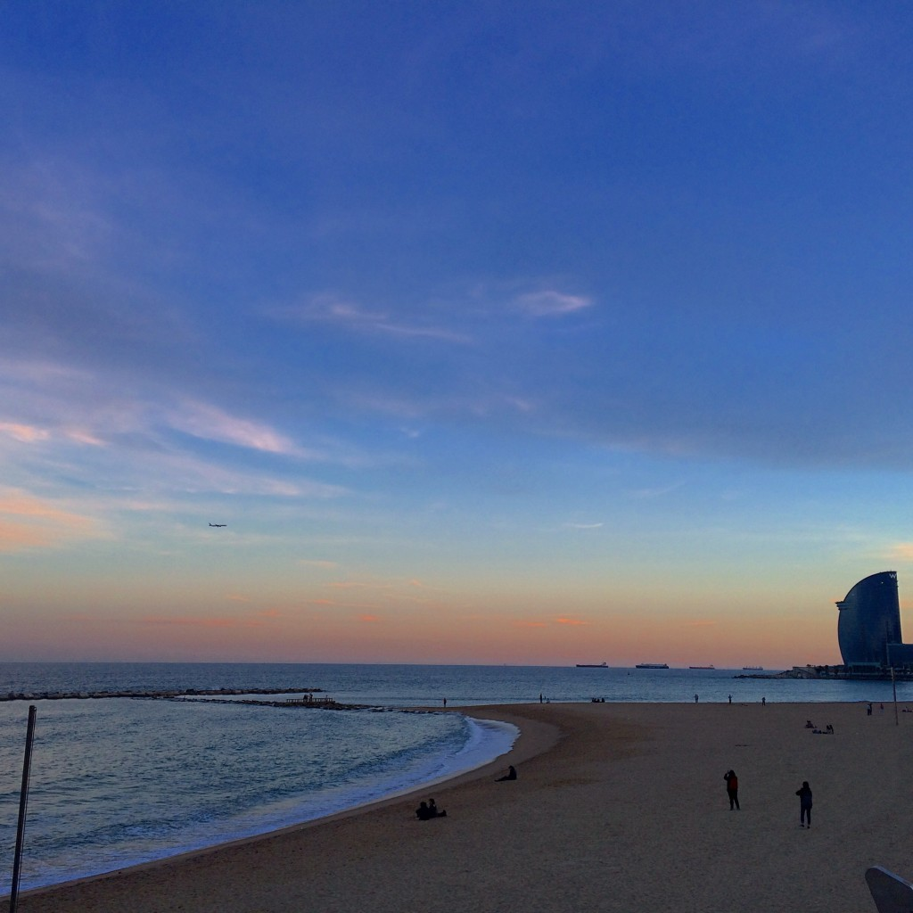 Running at sunset in Barceloneta