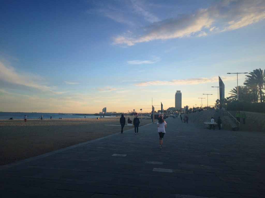 Running in Bogatell, Barcelona