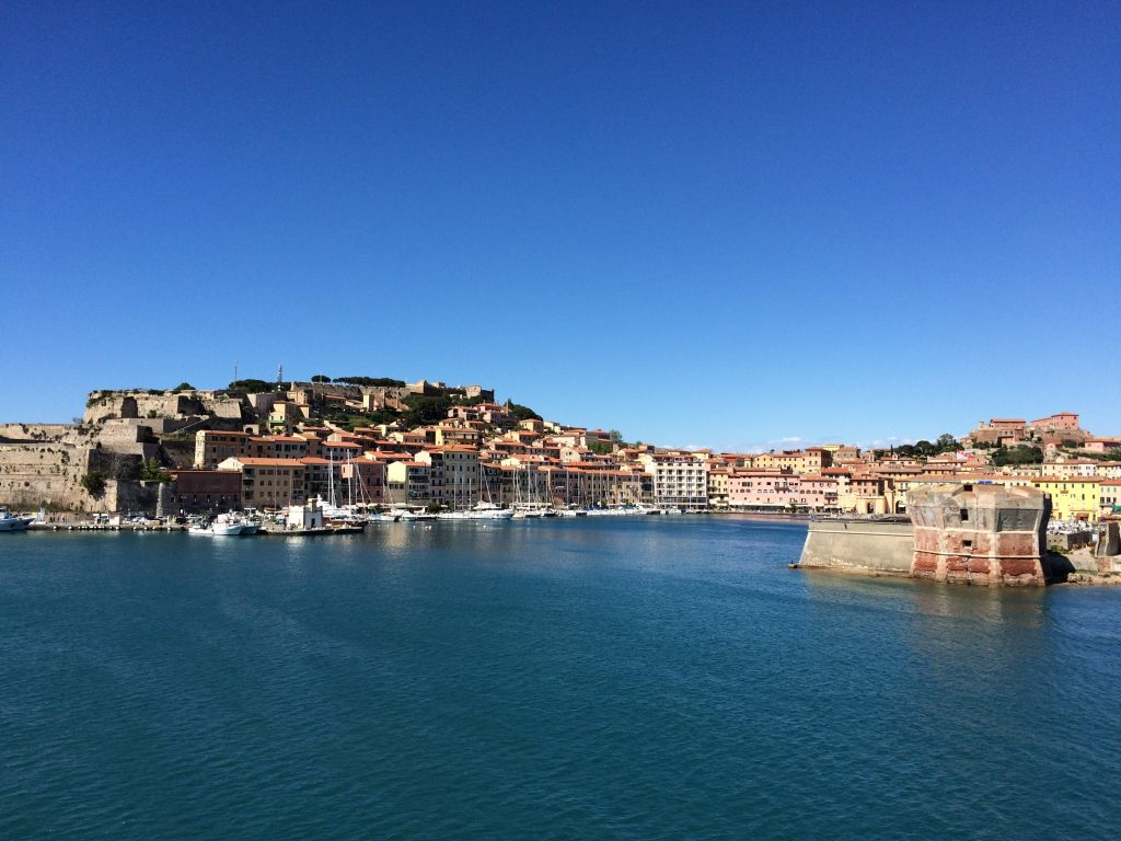 View of Portoferraio from the ferryboat to Piombino