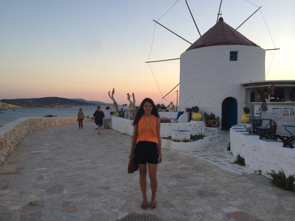 Christina at sunset in front of windmill Koufonisia