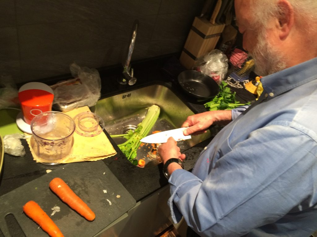 Ferdinando cleaning the vegetables for the Salmi