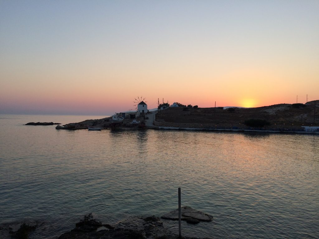 Sunset from the Chora with windmill Koufonisia
