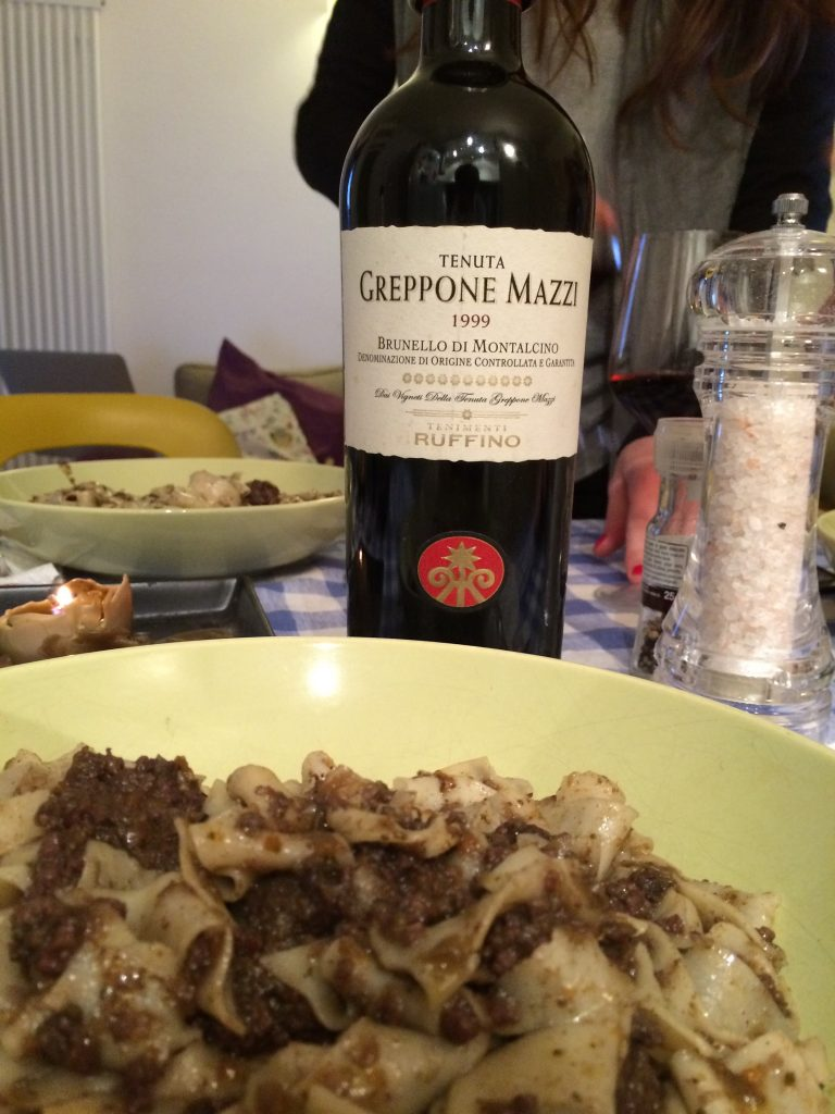 Wild Boar pappardelle and Brunello di Montalcino