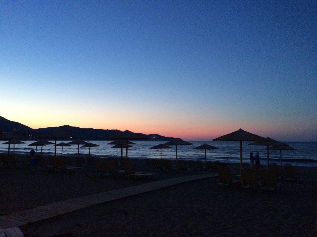sunset at wedding in crete