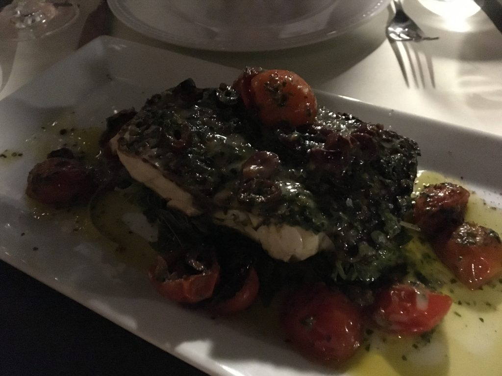 king fish in kefalonian style at oinops wine bar