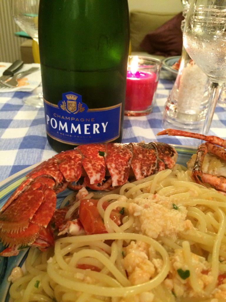 Champagne Pommery and italian lobster Lupicante