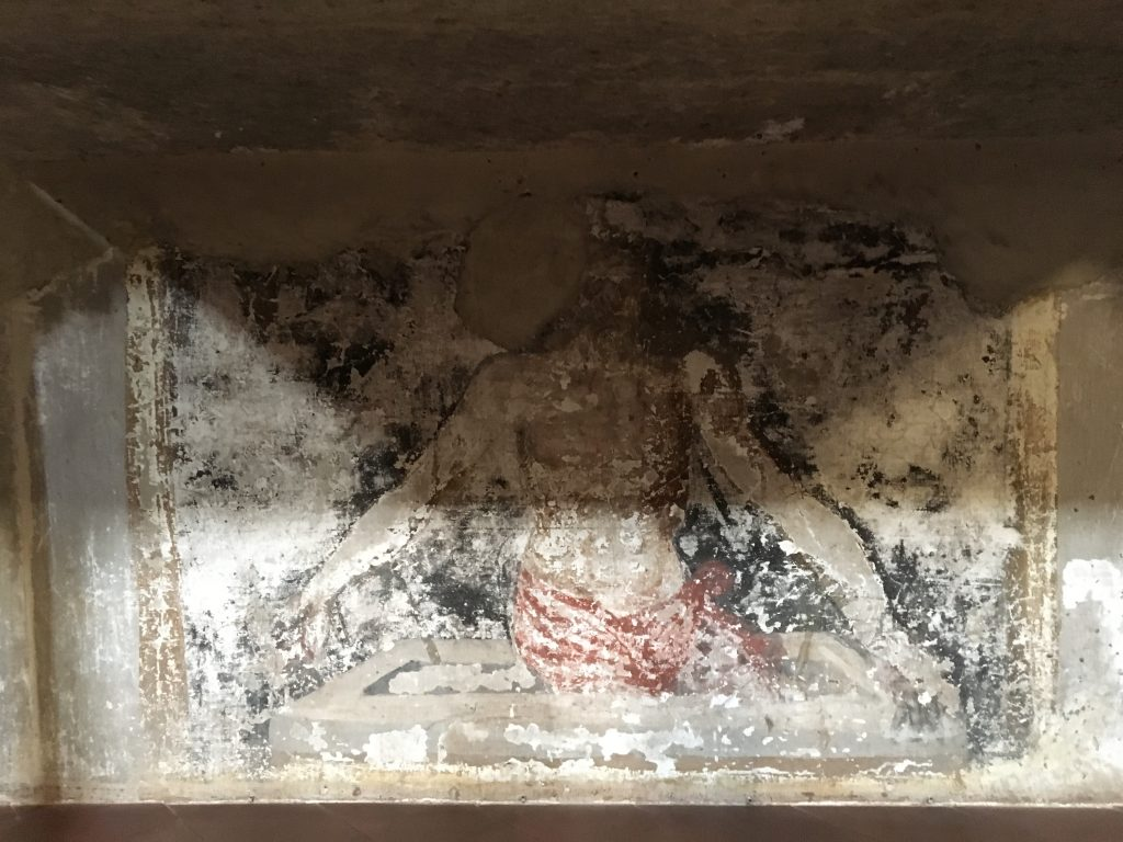 A fresco at chrurch of San Bartolomeo a Monte Oliveto