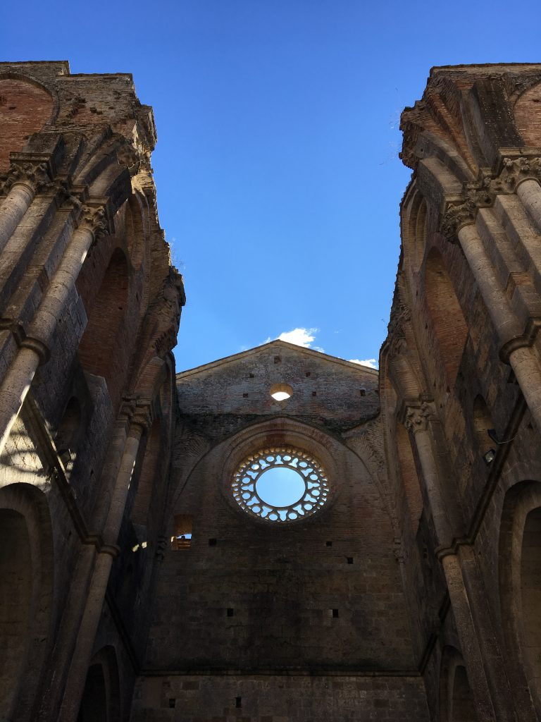 A intact window in the 13th-century Abbey of San Galgano