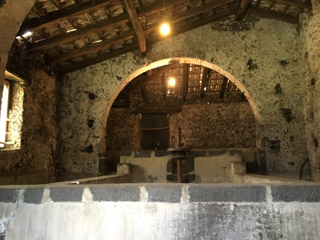 An ancient wine making chamber at valcerasa wine producer