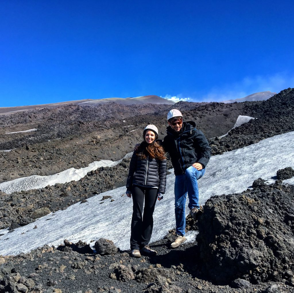 Christina and francesco near the lava front of the eruption in march 2017 on etna volcano