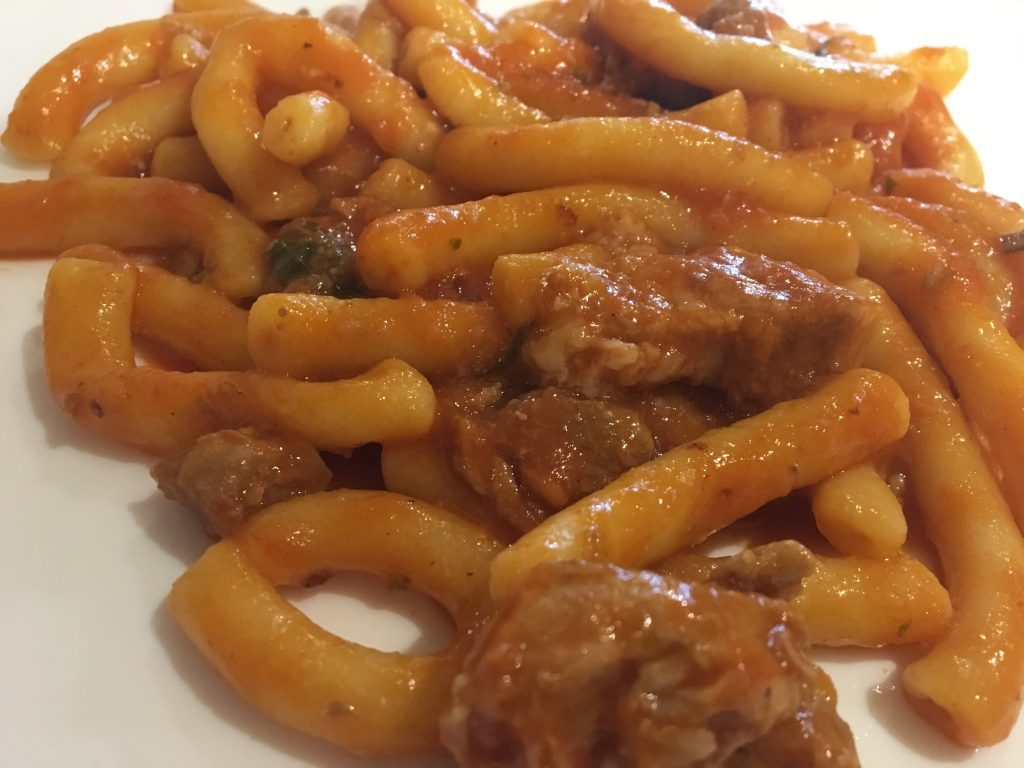 Handamade sicialin pasta with black pork from etna