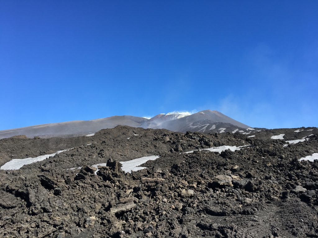 The lava front on top of volcano etna