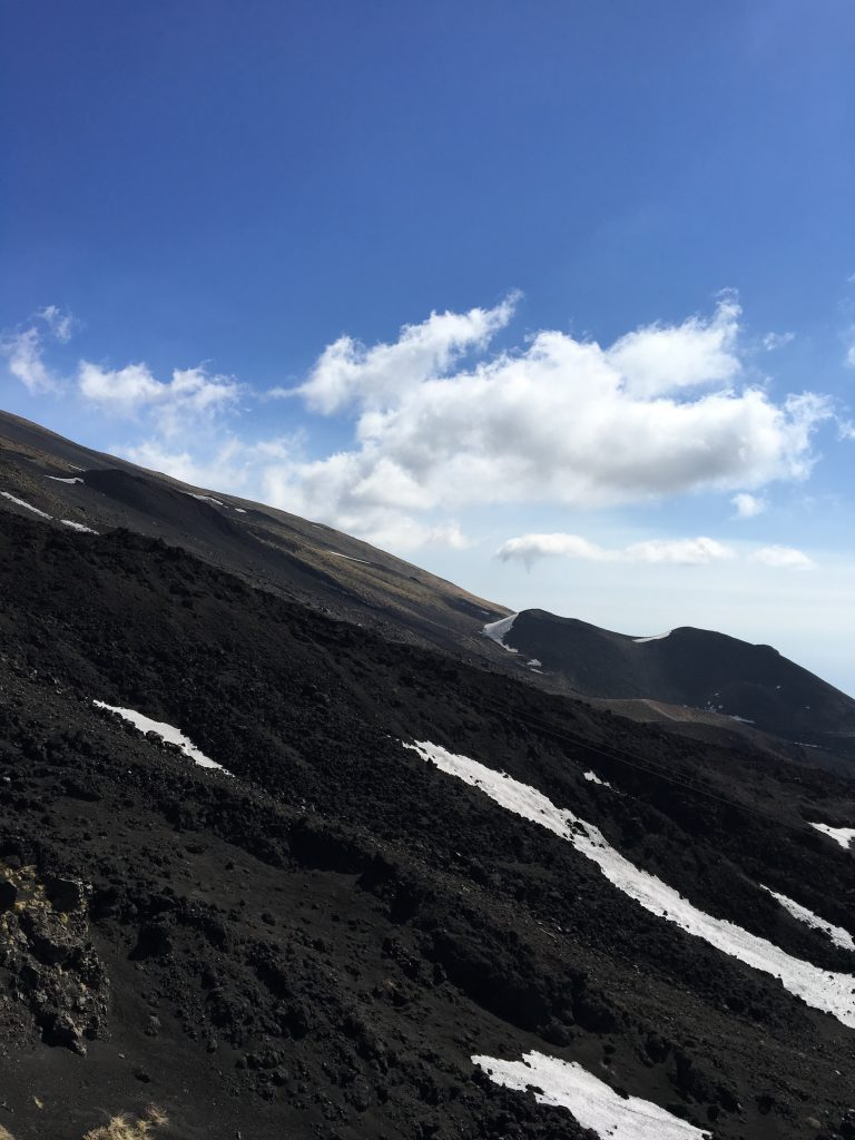 The slopes on volcano etna